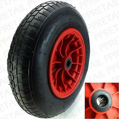 LARGE 400mm NEEDLE BEARING RUBBER SPARE WHEEL/AXLE Wheelbarrow Replacement Tyre