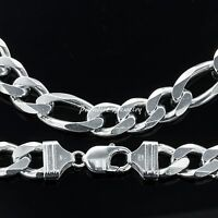 Men's 26 14k White Gold Finish Solid Heavy Figaro Chain 8 Mm Wide