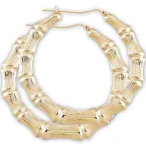 10k Gold Round Door Knocker Bamboo Hoop Earrings 3 Inches Ebay