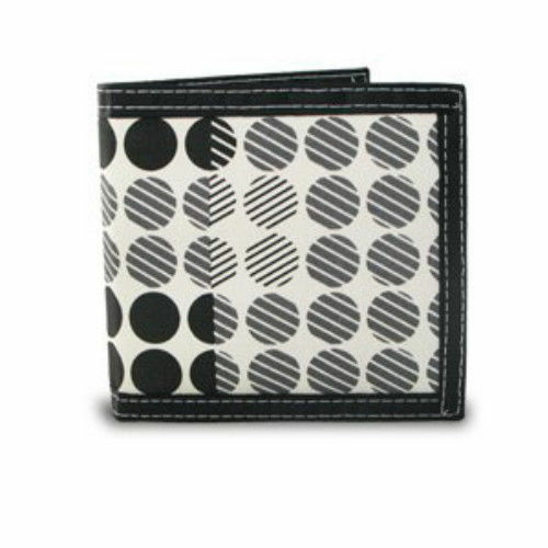 Stylish Bifold Screen Print Canvas Dot Pattern Wallet