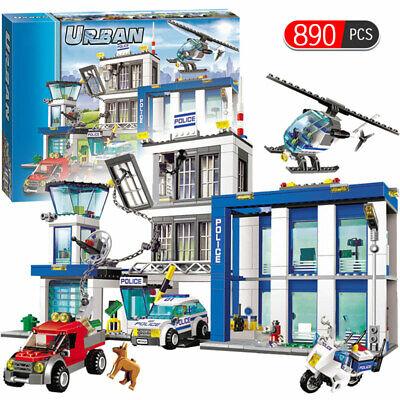 kids Gift UNISEX NEW 890 pcs City Police Station Motorbike Car Helicopter
