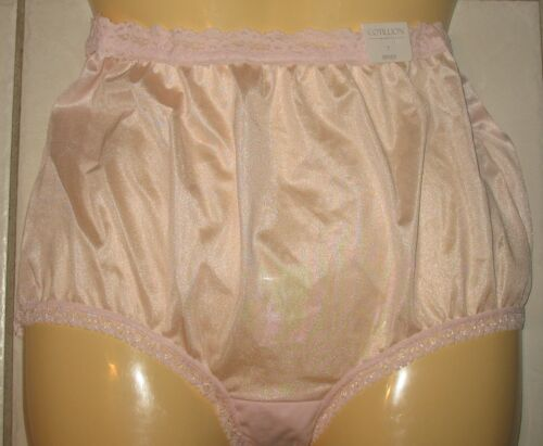"SIZE: 7 PINK COTILLION LACE TRIM- 100/% NYLON PANTY BRIEF 10/"" SIDES NEW"