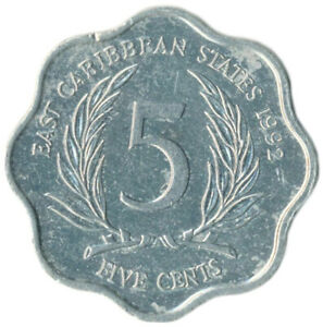 COIN / EAST CARIBBEAN STATES / 5 CENTS1992  #WT9147