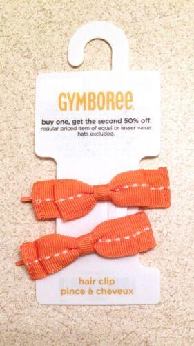 Gymboree Orange Grosgrain Bow Hair Clips Set of 2