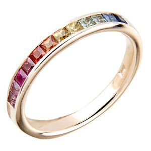 R129-Genuine-9K-Gold-Natural-Rainbow-Princess-cut-Sapphire-Band-Ring-made-2-size