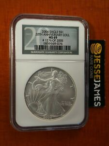 1996 American Silver Eagle NGC MS69 New Holder Brown Label Stock Photo