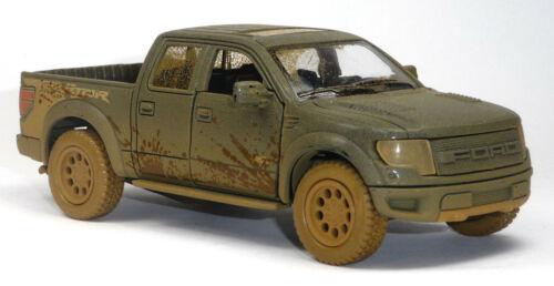2013 Ford raptor f-150 SVT maqueta de coche verde oliva Muddy-Look 1:46 Super Crew Kinsmart