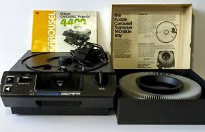 Vintage-Kodak-4400-Carousel-Slide-Projector-w-Remote-140-Tray-Manual-UNTESTED