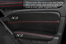 RED Stitch 2x FRONT DOOR CARD Trim pelle copre gli accoppiamenti VW GOLF MK6 VI 08-13 e