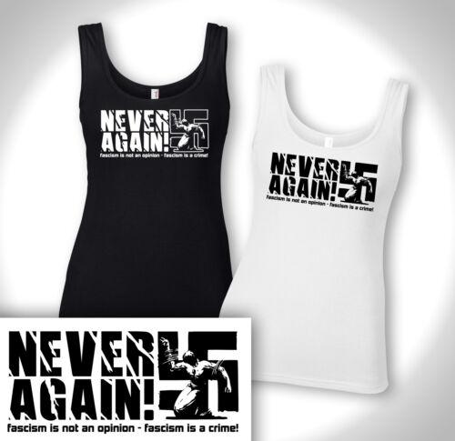 NEVER AGAIN! Girls Tank Top Punk Oi Hardcore GEGEN NAZIS Fuck Fascism Antifa