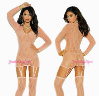 Peach Lace Camisette Cami Long Sleeve Stockings Attached Garters Mini Dress Os