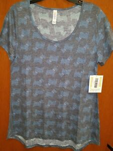 Nwt Classic Dogs Blue Large Lularoe Heathered Tee And Scottish Gray Terrier HRrqHa6w
