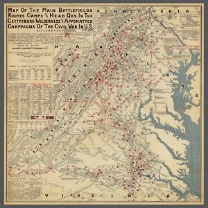 CIVIL-WAR-MAP-1900-Gettysburg-Virginia-Battlefields-War-antique-24-034-x24-034