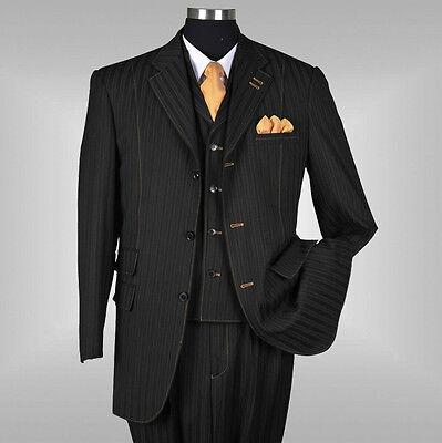 New Men's 3 piece Elegant and Classic Stripes Suit Color Black Size 38R~60L