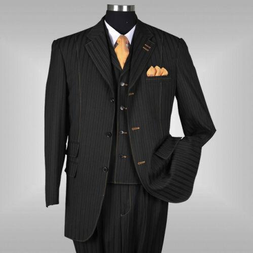 New Men/'s 3 piece Elegant and Classic Stripes Suit Color Black Size 38R~60L