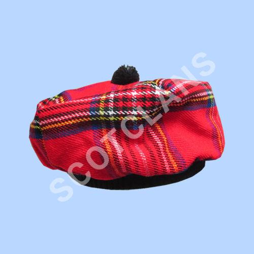 Écossais Tam O /'Shanter Chapeau Royal Stewart Tartan//Tammy Cap Taille Unique