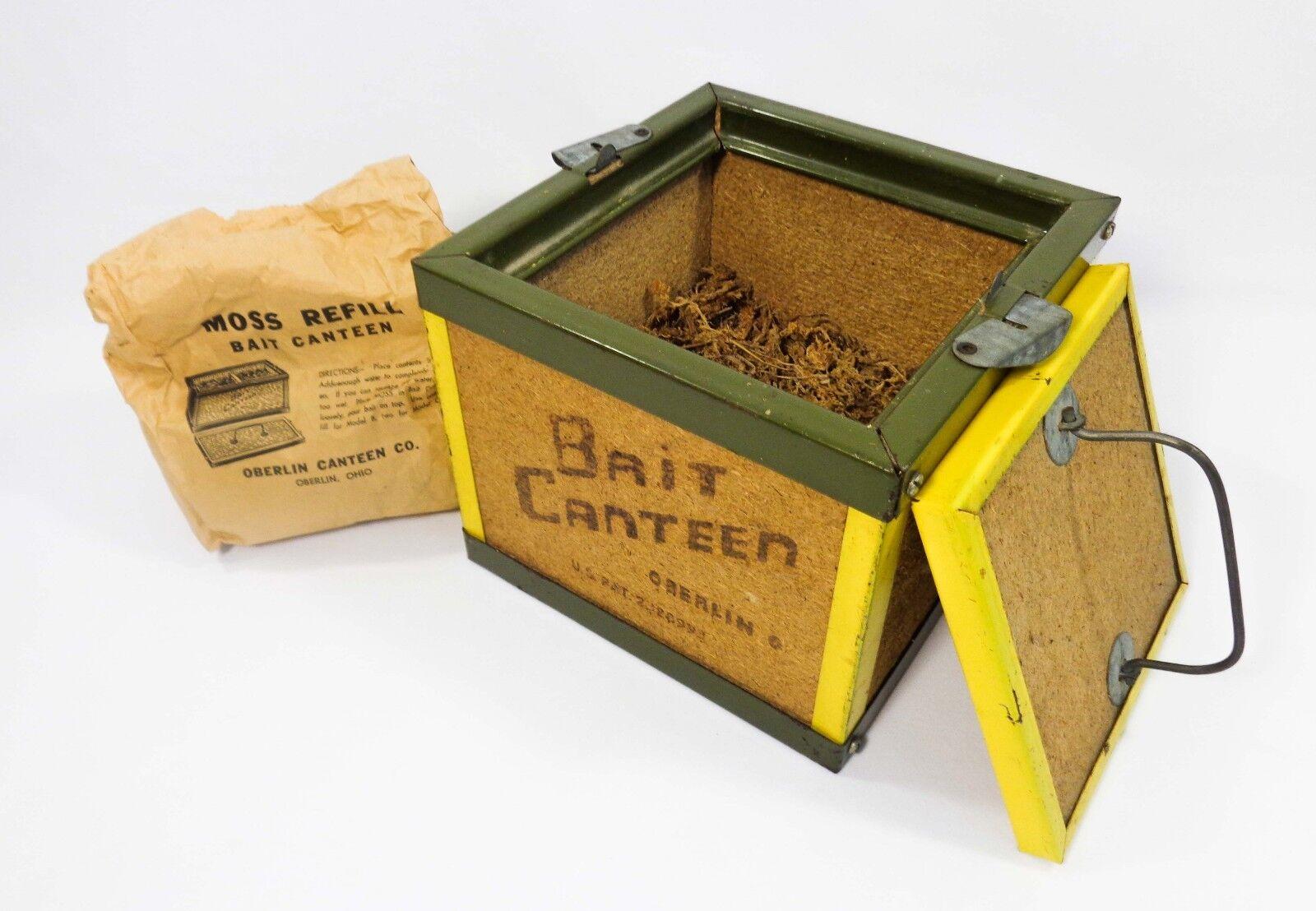 Vintage Oberlin, Oh Corcho Y Metal Cubo De Pesca Cebo Cantina Caja con musgo seca