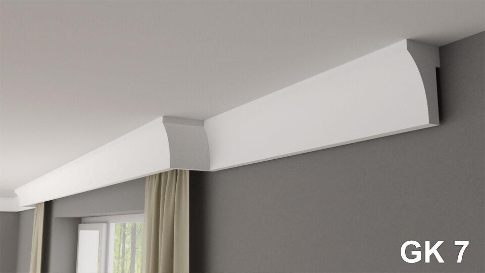 Curtain rod rail cover COVING cornice GK7  XPS lightweight MANY GrößeS 2M LONG