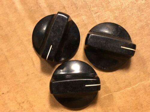 "3 Vintage Black Daka-Ware Bakelite 1.125/"" Pointer Knobs 1960s Guitar Amp Ribbed"
