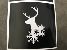 X5 Snowflake  Deer Stencil Glass Craft Etched Vinyl Sticker Silhouette Christmas