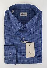 NIB BRIONI Blue Plaid Linen Slim Fit Dress Shirt Size 3XL $550