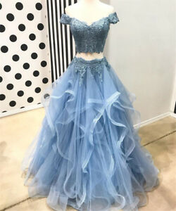 Details about Blue 2 Piece Ruffles Tiered