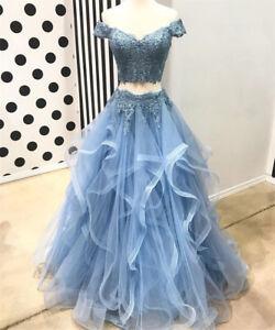 eb0a153e266e5 New 2 Piece Ruffles Tiered Lace Organza Junior Prom Dresses Evening ...