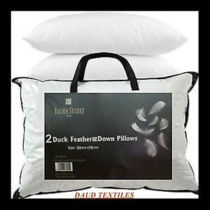 2-x-Luxury-Duck-Feather-amp-Down-Pillow-Comfortable-Extra-Filling-Hotel-Quality