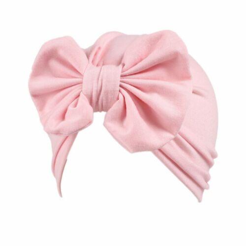 Baby Cotton Big Bow Turban Beanie Girls Headband Soft Kids Hat Headscarf Caps