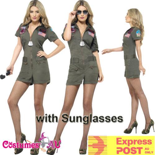 Ladies Top Gun 80s Womens Military Costume 1980s Aviator Pilot Fancy Dress 80/'s