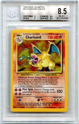 Charizard Base Set Unlimited 4/102 BGS PSA 8.5 (STRONG)