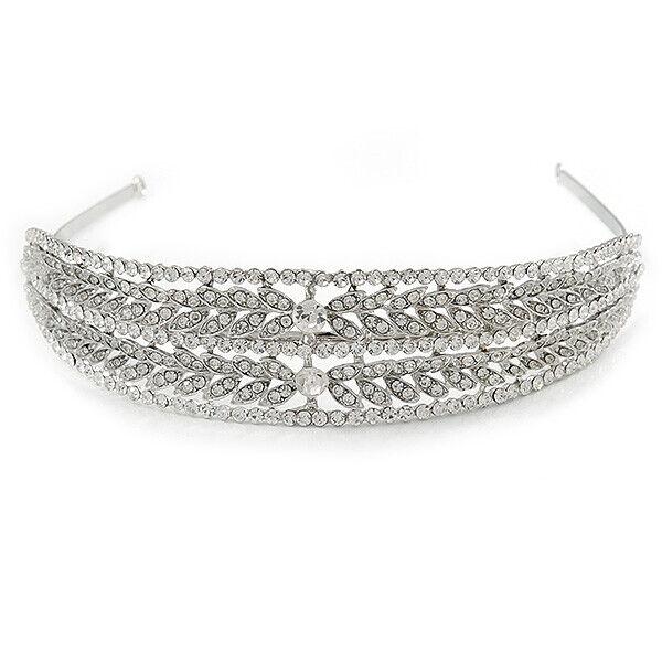 Wide Bridal/ Wedding/ Prom Rhodium Plated Clear Austrian Crystal Leaf Tiara