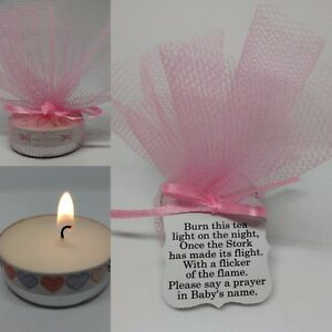 Image Is Loading Pink Baby Shower Candle Tea Light Favours Guest