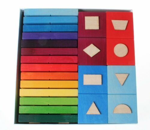 Holzspielzeug Grimm's Spiel und Holzdesign 40375 Domino geometrische Formen 28 Teile NEU Bunt Stapelspiele