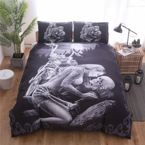 5D Beauty Skull Motorcycle Duvet Cover Bedding Set Black Skeleton Quilt Cover