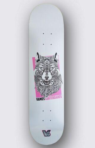 "Red Classic Vamos Skateboards Grip WOLF Skateboard Deck 8.25/"" inkl 7Ply"