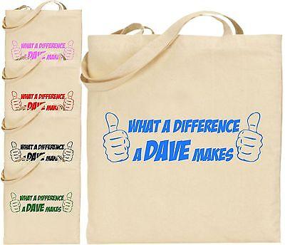 What A Difference Dave Machen Groß Tragetasche Lustiger Witz Cool Einkauf