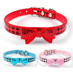 Shimmer-Gird-PU-Leather-Puppy-Dog-Collars-with-Bow-Cute-for-Small-Breeds-XS-S-M