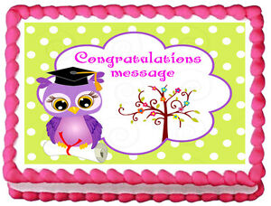 Edible Cake Decorations For Graduation : GIRLS OWL GRADUATION Image Edible Cake topper decoration ...