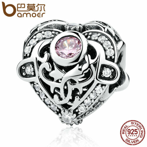Bamoer European S925 Sterling Silver CZ Charm Opulent Heart Orchid /& Clear CZ