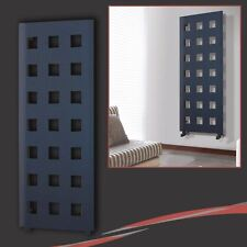 """575mm(w) x 1600mm(h) """"Lattice"""" Anthracite Vertical Radiator (21 Square Cut-Outs)"""