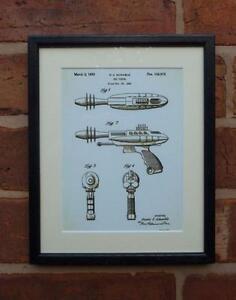 USA Patent Drawing TOY RAY GUN SCIENCE FICTION MOUNTED PRINT 1953 Xmas gift