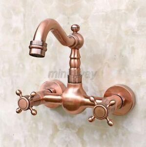 Antique Red Copper Wall Mount Kitchen Faucet Swivel Spout Sink Mixer