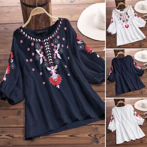 Mode-Femme-Blouse-imprimee-Floral-Manche-3-4-Tops-Hauts-Chemises-Shirt-Plus