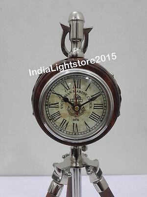 Disciplined Maritime Vintage Wooden Nautical Table /desk Clock Home Decor Antiques Clocks