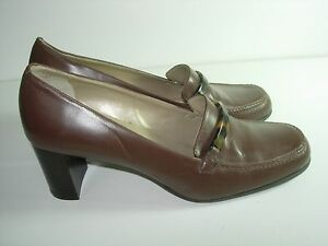 WOMENS-BROWN-LEATHER-FAUX-TORTOISE-LOAFERS-CAREER-HEELS-PUMPS-SHOES-SIZE-7-M