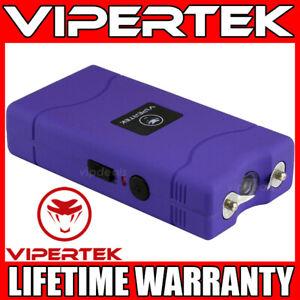 VIPERTEK Stun Gun Mini PURPLE VTS-880 335 BV Rechargeable LED Flashlight