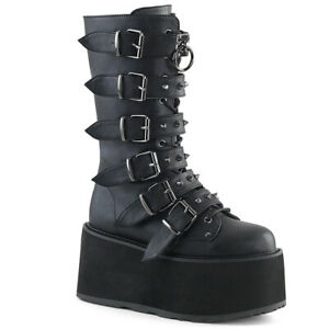 Demonia-DAMNED-225-Women-039-s-Black-Vegan-Leather-6-Buckle-Platform-Mid-Calf-Boots