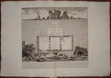Piranesi stampa antica old print 1784 pianta sepolcro famiglia augusto via appia