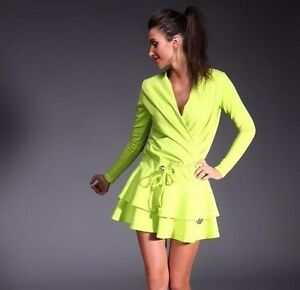 NEGATIV-Lime-Rufle-Frill-Long-Sleave-Casual-Evening-Swing-Wrap-Stretch-Dress-M
